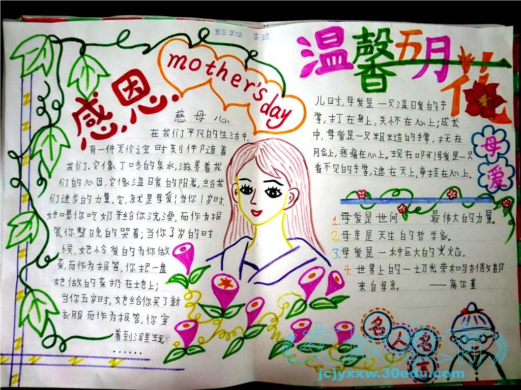 母亲节英语手抄报图片