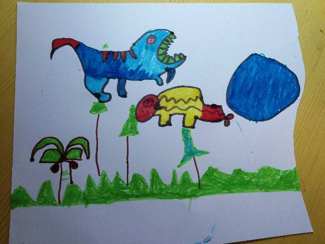 翼龙画画图片儿童画